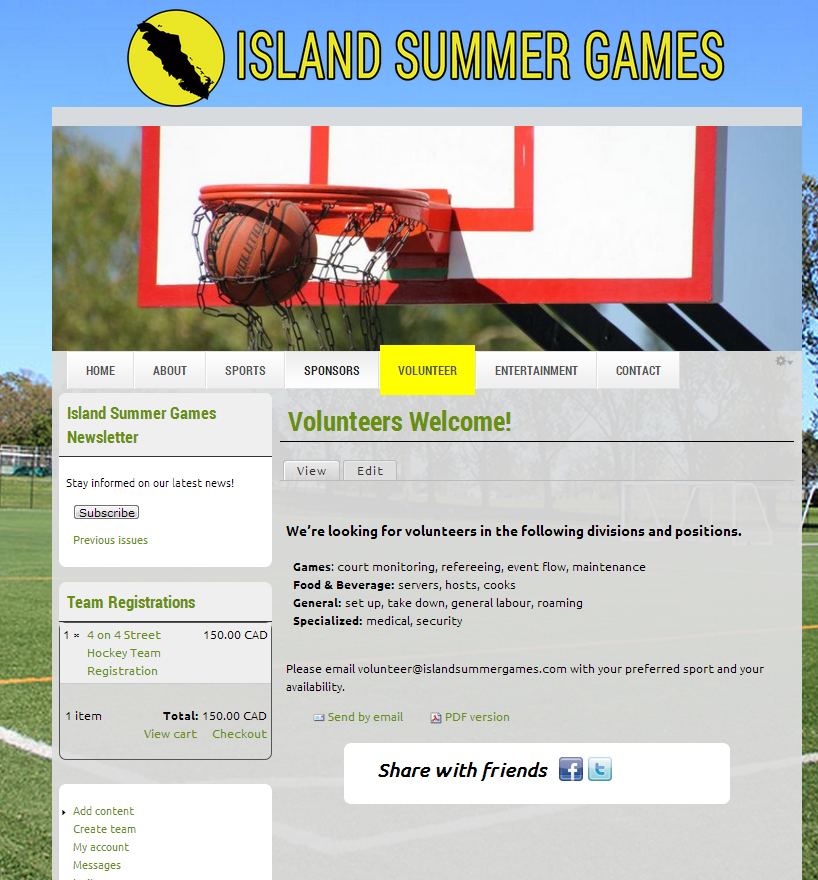 Island Summer Games website screenshot