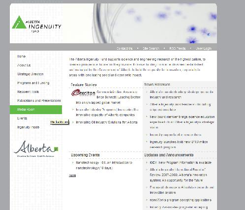 Alberta Ingenuity website screenshot