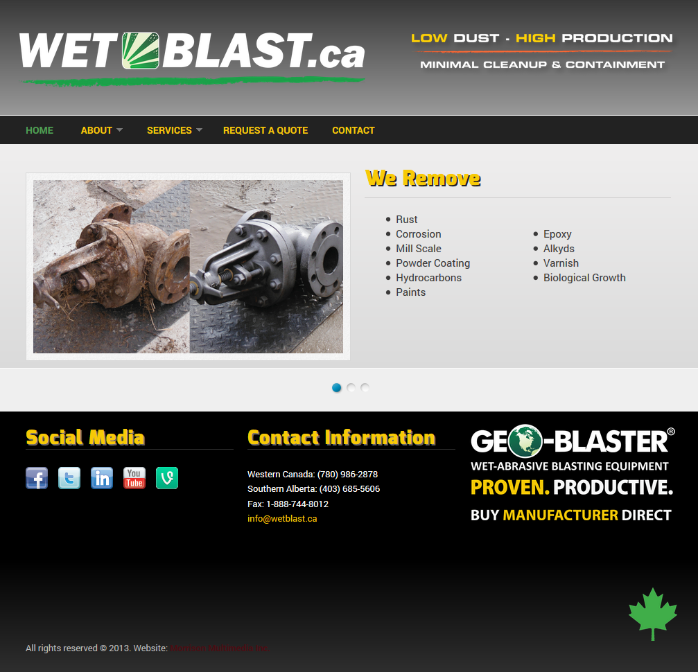 wetblast.ca screenshot